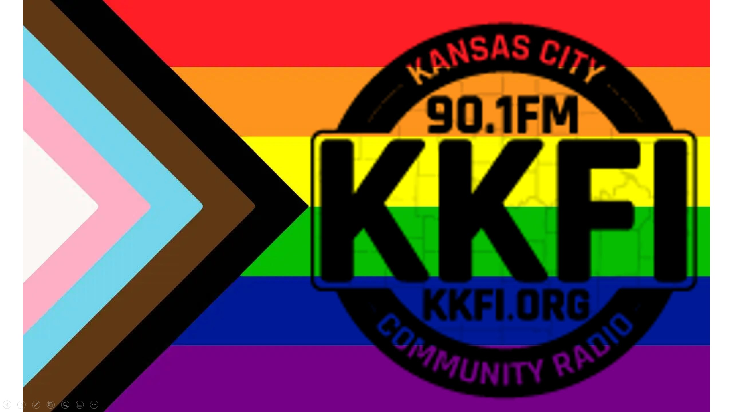 KKFI Logo on Rainbow Inclusion flag